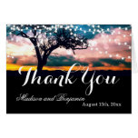 String Lights Tree Sunset Wedding Thank You Cards
