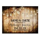 String Lights Tree Vintage Barn Wood Save the Date Postcard