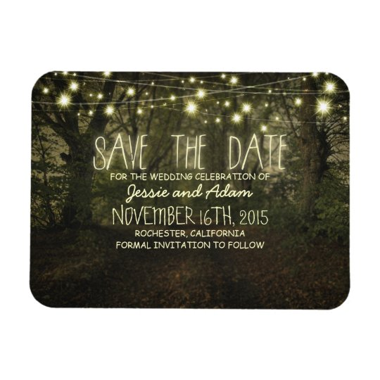 String lights trees path rustic save the date