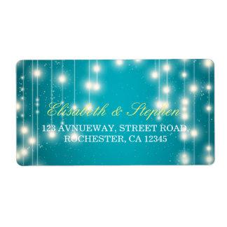 String Lights & Turquoise Glitter Wedding Address