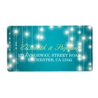 String Lights & Turquoise Glitter Wedding Address Shipping Label