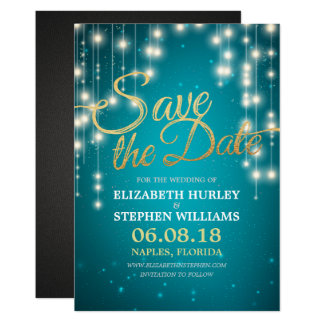 String Lights Turquoise Gold Script Save The Date Card