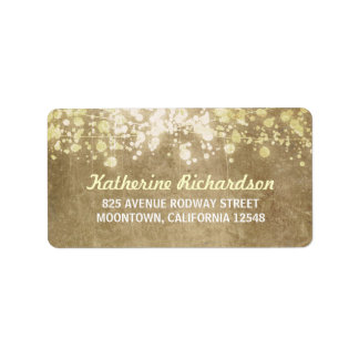 string lights vintage wedding address labels