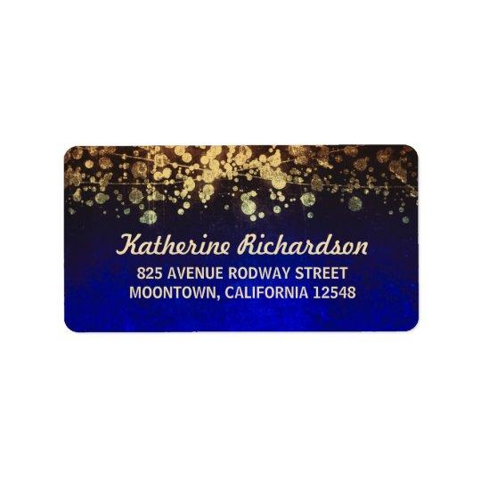 string lights vintage wedding blue and gold address label