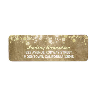 string lights vintage wedding returnaddress labels
