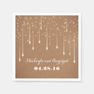 String Lights Wedding Modern Paper Napkin