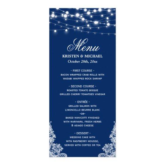 String Lights White Lace Navy Blue Wedding Menu