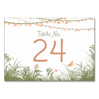 String Lights Wildflowers Table Number Card Place