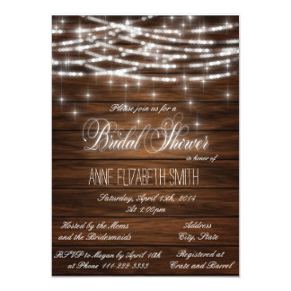 String lights wood Bridal Shower 5x7 Paper Invitation Card