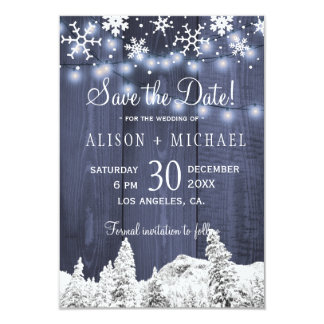 String lights wood snowflakes save date wedding card