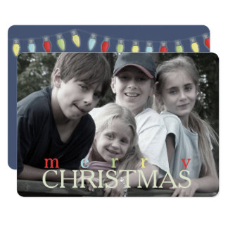 String of Christmas Lights Double Sided Photo Card