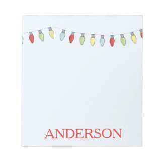 String of Christmas Lights Editable Notepad
