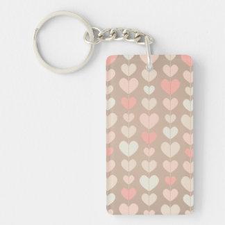 String of Hearts Pastel Girly Blush Pink Pastel Double-Sided Rectangular Acrylic Key Ring