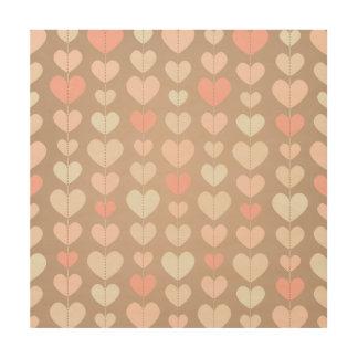 String of Hearts Pastel Girly Blush Pink Pastel Wood Print