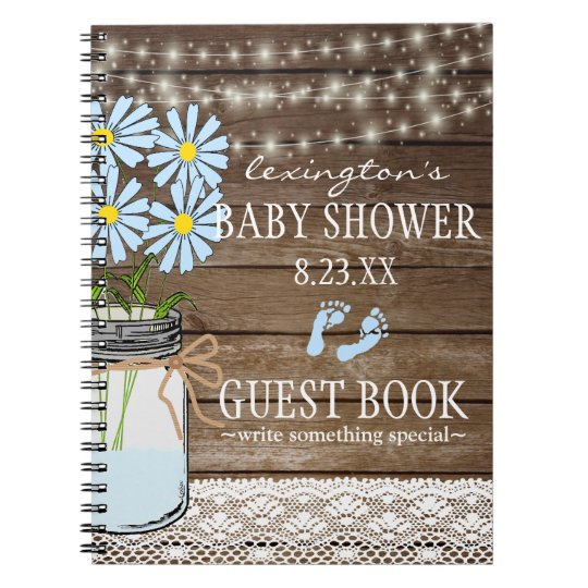 String Of Lights Blue Baby Shower Guestbook   Notebooks