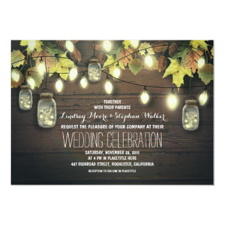 string of lights fall mason jar wedding invitation