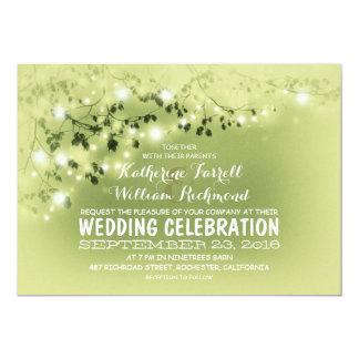 String Of Lights Light Green Wedding Invitation