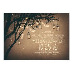 string of lights mason jars vintage wedding 13 cm x 18 cm invitation card at Zazzle