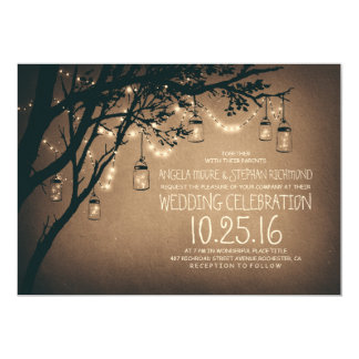 string of lights mason jars vintage wedding 13 cm x 18 cm invitation card