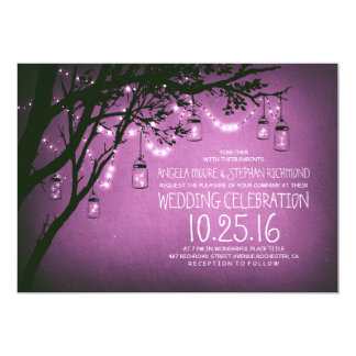 string of lights mason jars vintage wedding card