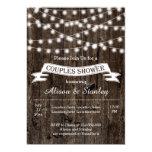 String of lights, old wood wedding couples shower 13 cm x 18 cm invitation card