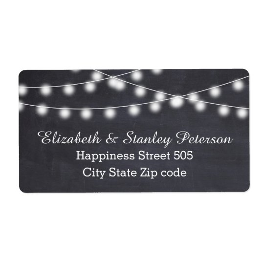 String of lights on chalkboard summer wedding shipping label