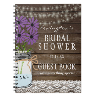 String Of Lights Rustic Bridal Shower Guestbook | Spiral Notebooks
