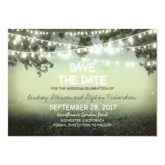 string of lights rustic SAVE THE DATE FLAT CARDS 11 Cm X 16 Cm Invitation Card