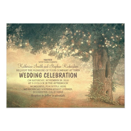 string of lights rustic tree wedding invitation