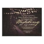 string of lights rustic trees wedding invitation