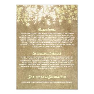 String of lights rustic wedding information cards 11 cm x 16 cm invitation card