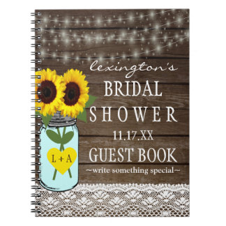 String Of Lights Sunflower Bridal Shower Guestbook Spiral Note Book