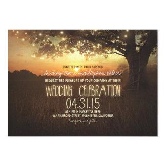 string of lights sunset tree wedding invitation
