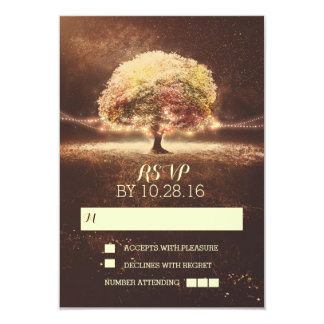 String of lights tree wedding RSVP cards