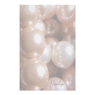 String of Shiny Rose Gold Pearls Add Your Name Personalised Stationery