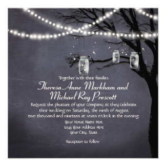 String of Twinkle Lights Rustic Outdoor Night Tree Invitations