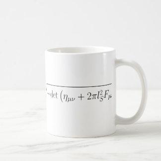 string theory Born-Infeld action Basic White Mug
