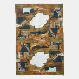 Stringed Instrument Patchwork Look Collage Kitchen Towel