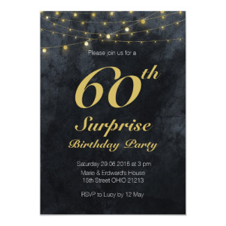Stringlights surprise birthday party Invitation