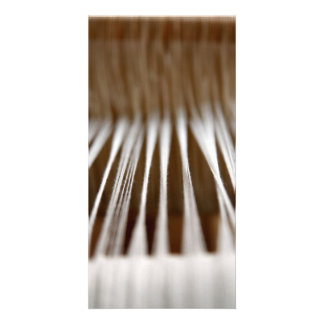 Strings in a loom photo greeting card