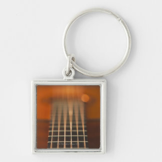 Strings of Acoustic Guitar Silver-Colored Square Key Ring