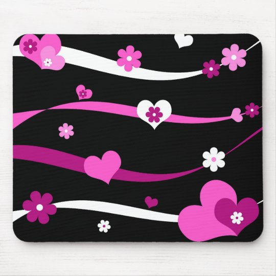 Strings of hearts and flowers mouse mat