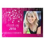 Strings of Light Hot Pink Photo Graduation Cards Invitations
