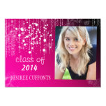 Strings of Light Hot Pink Photo Graduation Cards Invitations