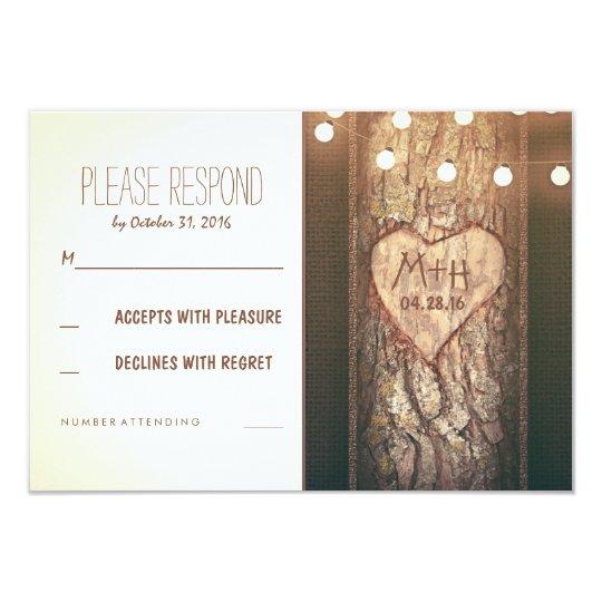 Strings of Lights Carved Heart Wedding RSVP Cards