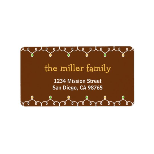 Stringy Christmas lights brown address label