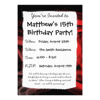 Stringy Red Abstract Custom Invitations