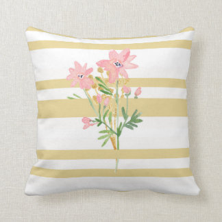 Stripe and Floral Pillow