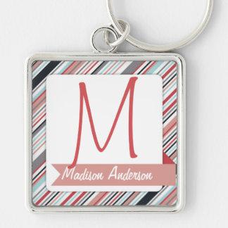 Stripe and Ribbon Custom Keychain