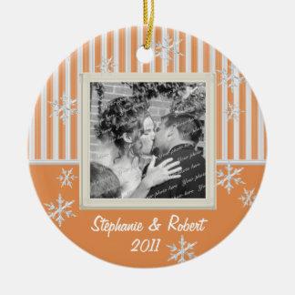 Stripe and Snowflakes Mellon Ornaments